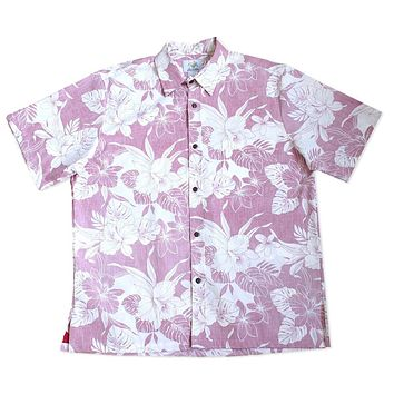 orchid shadow red reverse print hawaiian cotton shirt