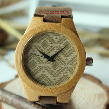 Women's New Fashion Bamboo Wooden Wristwatch With Genuine Cowhide Leather Band Lovers Wood Watches for Women