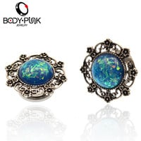 Ear Expanders Stainless Steel Blue Opal Filigree Ear Plug Body Piercing Jewelry 1 Pair Popular Ear Tunnel PLG 057