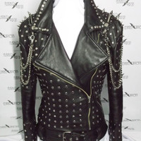 Genuine Leather Jackets with studs spikes shoulders pattern