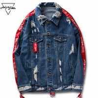Couple Clothes Jean Jacket Men Hi-street Ribbons Sleeve Ripped Hole Hip Hop Jacket