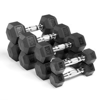 Xmark Premium Quality, Rubber Hex Dumbbells - 100 lb. Set