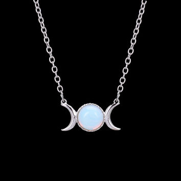 Crescent Moon&Sun Pendant Necklace Natural Stone Opal Silver Plated Necklace Pink Crystal Turquoise Sailor Moon Necklace Women
