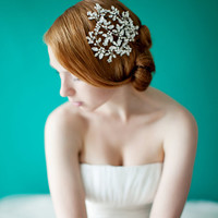 Wedding, Floral Bridal headpiece, Crystal Headpiece, Wedding Hair Accessory, Ivory, Silver - Style 229