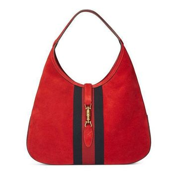 Gucci Red Soft Suede Web Stripe Jackie Shoulder Hobo Bag