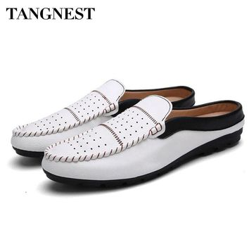 Tangnest Summer NEW Men Loafers British Style Split Leather Slippers Men Shallow Flats Fashion Cut-out Driving Shoes XMR2604