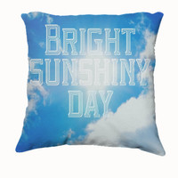 "Throw Pillow-Home Decor- ""Sunshiny Day"" 18 x 18 Pillow-Typography--Cream-Home Decor-"