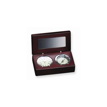 Rosewood Box with Compass and Clock - Engravable Personalized Gift Item