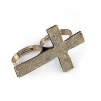 Vintage Retro Style Alloy Cross 2 Fingers Double Ring Adjustable | AihaZone Store
