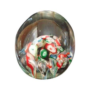 Pre-owned Vintage Hand-Blown Millefiori Paperweight