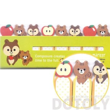 Chipmunk Squirrels and Apples Shaped Sticky Post-it Index Bookmark Tabs