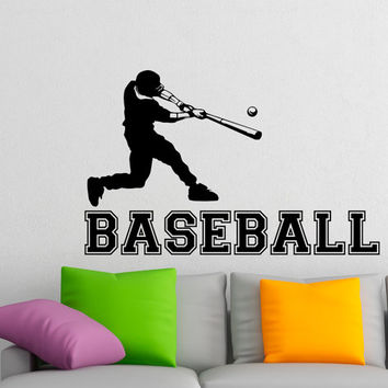 Baseball Wall Decal Sports Man Baseball Player Sport Gym Wall Decals Vinyl Stickers Teens Boys Room College Wall Art Home Decor Q125