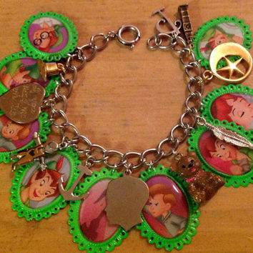 Disney's Peter Pan Colorful Altered Art Charm Bracelet
