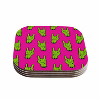 "KESS Original ""Zombie Rock"" Green Magenta Coasters (Set of 4)"