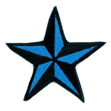 ac spbest Blue Nautical Star Patch Iron on Applique Alternative Clothing Tattoo Rockabilly