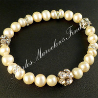So Feminine! Handmade Genuine White Pearl & Rhinestone Bracelet Bridal Jewelry Bridesmaid Flower Girl June Birthstone Graduation Gift