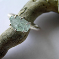 Ice blue aquamarine sterling silver ring