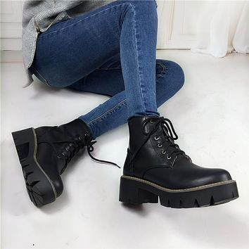 SHOES BOOTS Women's Fashion Lace-Up Sexy Women Boots Platform punk Black Ankle boots Combat Ankle Martin Boots - 4 colors thick or thin fur