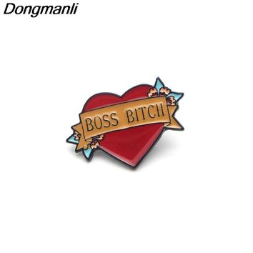 P2993 Dongmanli Boss Bitch Metal Funny Enamel Pins and Brooches for Women Men Lapel pin backpack bags badge pin Party jewelry