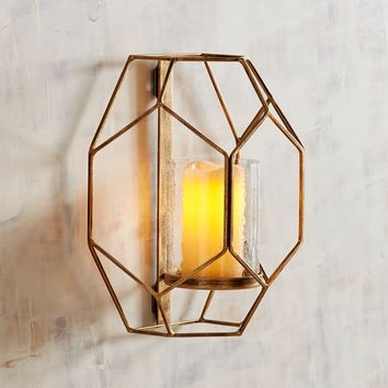 Golden Metal Geometric Candle Holder Wall Sconce