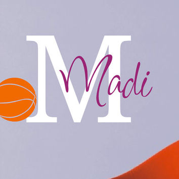 Girls Basketball Wall Decal - Personalized Name - Sports Theme Room Decor - Monogrammed Vinyl Lettering - Teen Room - Basketball Decor