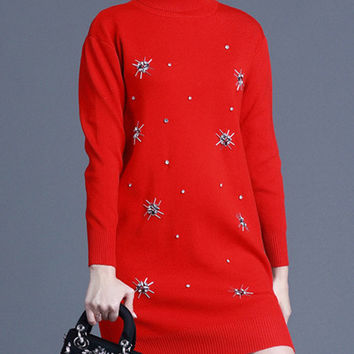 Red High Neck Beaded High-Low Sweater Dress