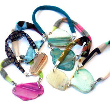 Fabric friendship bracelets with druzy agates - One of a kind textile jewels from Bfriend collection
