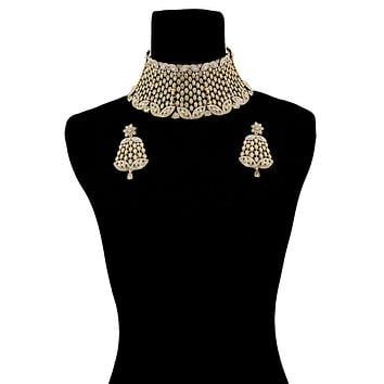 Gold and Rhinestone Marquise Rigid Collar Choker Necklace Set