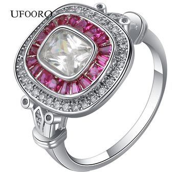 2017 NEW Pink CZ Stone Silver Custom Gem Plated Ring for women fashion accessories lady party gift design Engagement Jewelry