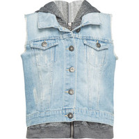 Highway Denim/Fleece Girls Vest Medium Wash  In Sizes