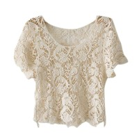 Iwoo Hollow Lace Knit Women Tops Tee Shirt
