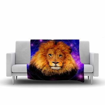 "NL Designs ""Space Lion"" Purple Orange Fleece Throw Blanket"