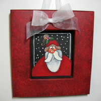 Small Folk Art Santa Claus Tole Painted and Framed in Shades of Red with Ribbon for Hanging