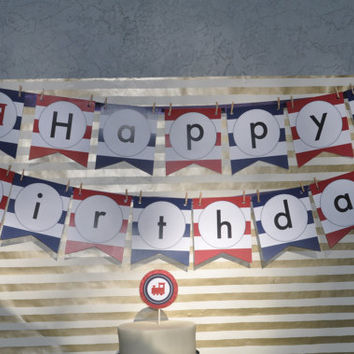Rugby Train Happy Birthday Banner: INSTANT DOWNLOAD