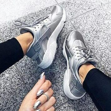 Nike Air Huarache Fashion Women Men Classic Runner Breathable Running Sneakers Sport Shoes Silvery I