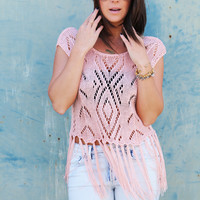 Fringe Flirt Knit Top {Pink}