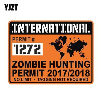 YJZT 20x15cm Funny International ZOMBIE Hunting Permit Waterproof Retro-reflective Decal Car Sticker C1-8034