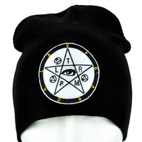 Occult Symbol Pentacle w/ Eye Beanie Gothic Clothing Knit Cap