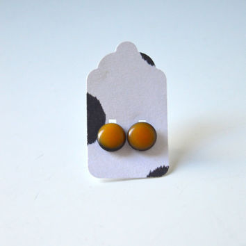 Stud Earrings - Black and Neon Orange Stud Earrings - Tiny Stud Earrings - Post Earrings - Colorful Earrings - Handmade Enamel Jewelry Studs