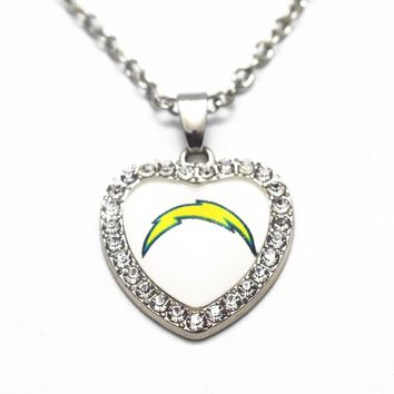 1pcs20 Inch Chain Necklace Silver Heart Crystal San Diego Chargers Pendant Necklace For Women Men Big Necklace Jewelry