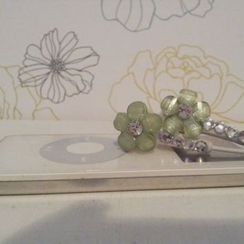 Lt Green frosted Petal Flower with swarovski crystals