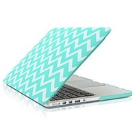 "TopCase Chevron Series Hot Blue / Turquoise Ultra Slim Light Weight Rubberized Hard Case Cover for Apple MacBook Pro 13.3"" with Retina Display Model: A1425 and A1502 (NEWEST VERSION 2013) - with TopCase Chevron Mouse Pad"