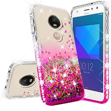 Motorola Moto E5 Play Case, Moto E5 Cruise Case Liquid Glitter Phone Case Waterfall Floating Quicksand Bling Sparkle Cute Protective Girls Women Cover for Moto E5 Play/Moto E5 Cruise - Hot Pink