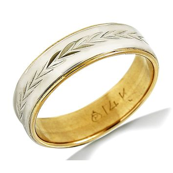 14k SOLID White & Yellow Gold Ceaser Leaf Eternity Band Ring