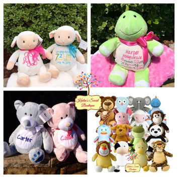 Monogrammed Baby Gift- Personalized Stuffed Animal / Cubbie - Birth Info, Name, or Monogram