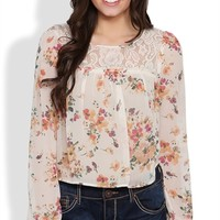 Long Sleeve Mid Crop Top with Floral Print and Crochet Back