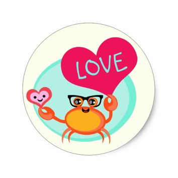 Cute Crabby Hipster Love Valentine Sticker