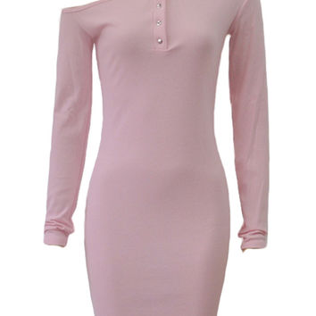 Pink Off Shoulder Button Front Ribbed Long Sleeve Bodycon Dress