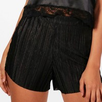 Petite Fia Pleated Crinkle Shorts | Boohoo