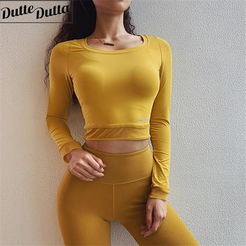 Women Long Sleeve Workout Tops Sexy Gym Crop Top Yoga T-shirts Activewear Mesh Fitness Clothing Sports Shirts Yoga Tank Top